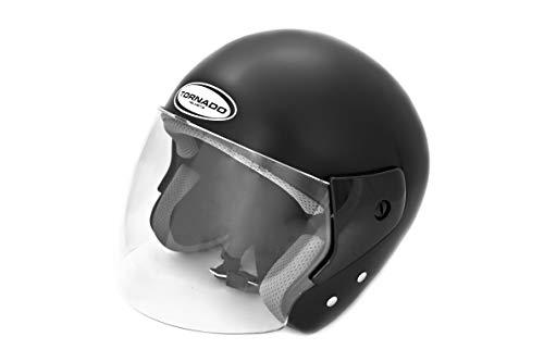Saferide | Helm Motorrad Matt Schwarz XXL 63-64 cm Offen Motorradhelm Rollerhelm Quad Damen Herren Roller Schutzhelm Sturzhelm Jugendliche Erwachsene Regenschutz Moped Mofa