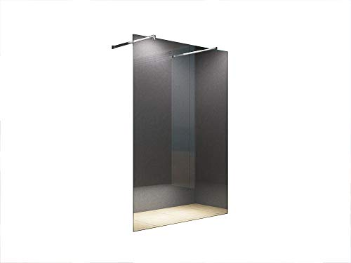 duschwand freistehend Freistehende 140x200 cm Duschabtrennung LILY Klarglas mit Eckiger Haltestange, Duschwand, Walk-In Dusche, 10 mm ESG Sicherheitsglas