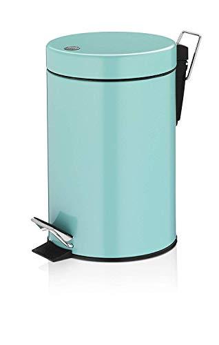 TOM TAILOR Kosmetikeimer Shiny Stripes Aqua 3 Liter Metall (Farbige Mülleimer)