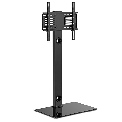 Stand Lg Base (FITUEYES TV Bodenständer TV Standfuß TV Ständer Fernsehstand Glas höhenverstellbar schwenkbar für 32 bis 55 Zoll Flachbildschirm Aufsatz Möbel Rack TT106001MB)