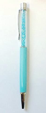 L&C®QUALITY CRYSTAL BALLPOINT PEN WITH SWAROVSKI CRYSTAL ELEMENTS PENS +REFILL+POUCH BAG GIFT (Turquoise/