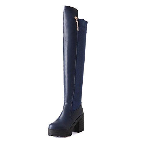 AgooLar Damen Hoch-Spitze Ziehen auf Weiches Material Hoher Absatz Rund Zehe Stiefel, Blau, 39