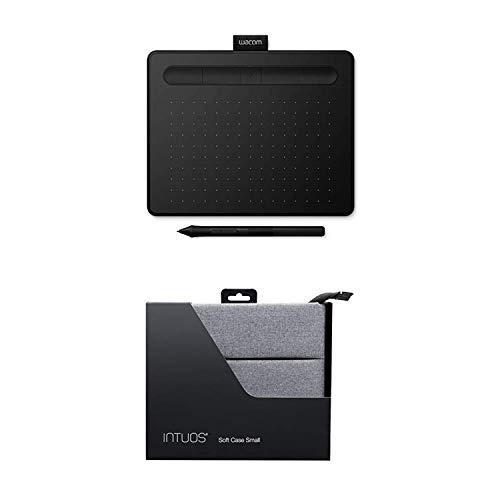 Wacom Intuos S schwarz Stift-Tablett - Mobiles Zeichentablett zum Malen & Fotobearbeitung mit druckempfindlichem Stift & Bluetooth und 2 kostenlosen Softwaredownloads + Schutzhülle für Intuo Small (Wacom Intuos Zubehör-kit)