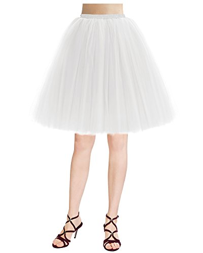 Bridesmay Damenrock 50S Retro Tüllrock Vintage Tutu Petticoat Partykleid White XL