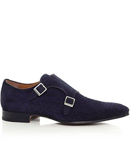 Calpierre Hommes tissé de daim chaussures de moine double sangle Bleu Bleu