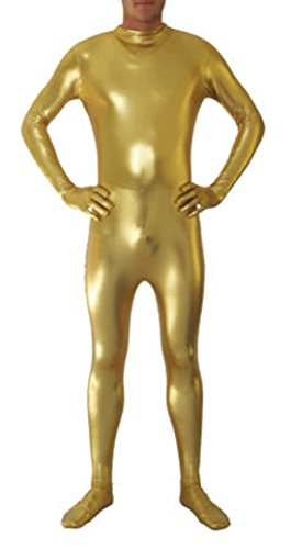 lic Headless Zentai Spandex Fancy Kleid Lycra Anzug Gr. S, Gold-Y ()