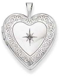 14K 20mm White Gold Side Swirls w/ Diamond Heart Locket by UKGems