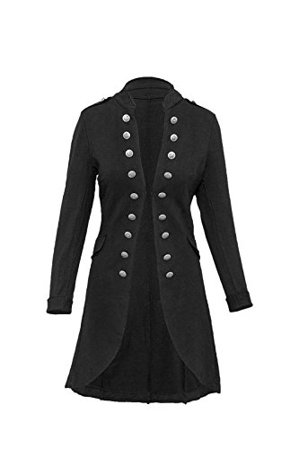 Madonna Damen Blazer Damenjacke Admiral Jacke Military Army Style Lang S - XXL XXXL, schwarz, XL/42