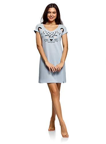 oodji Ultra Femme Robe d'Intérieur avec Appliqué et Col V, Bleu, FR 42 / L