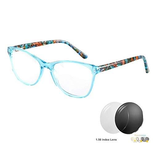 ZTM Womens Anti Glare Sun Readers Transition photochrome Linse Cat Eye Acetat klarer Rahmen Lesebrille Weitsichtige Brillen,Blue,3.0