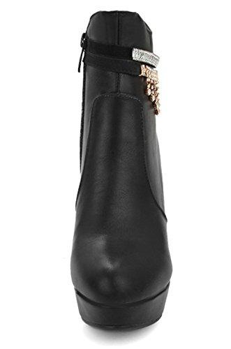 Com Altos Planalto Bloquear Preto Tornozelo Boots Ye Saltos Ankle Salto Strass Mulheres Botas Zip Brilhantes YxwnT8w