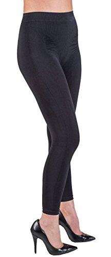 Leggings Contenitivo Anti Cellulite con Push-up con in Filato BioFIR Emana (Nero, M)