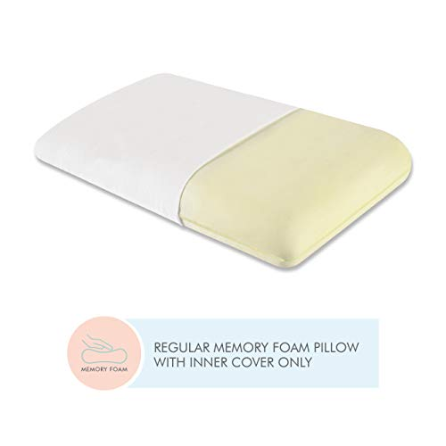 "The White Willow Orthopedic Memory Foam Small Size Neck & Back Support Bed Pillow for Sleeping - (21.5"" x 13.5"" x 4"") Off White"