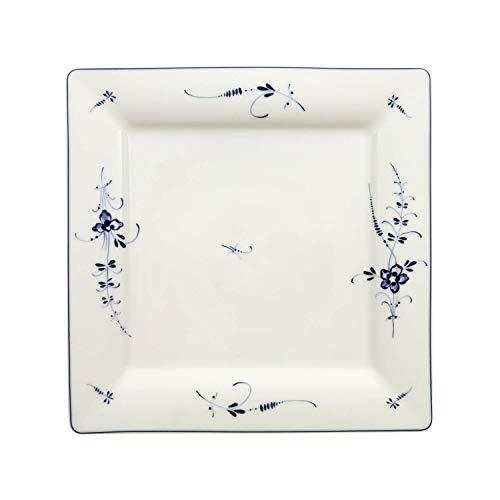 Villeroy & Boch Vieux Luxembourg Quadratischer Speiseteller, 27 cm, Premium Porzellan, Weiß/Blau