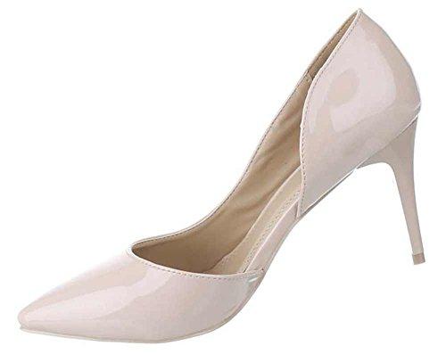 Damen-Schuhe Pumps | Frauen High Heels mit 8 cm Stiletto-Absatz in verschiedenen Farben und Größen | Schuhcity24 | Klassische Abendschuhe in Lacklederoptik Beige