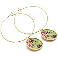 Orecchini creolo Frida Kahlo farfalla ottone oro 24 carati oro verde fiore rosa ottone bronzo regali personalizzati Natale cerimonia di nozze ospiti festa della mamma coppie