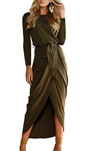 Frühling Herbst Minikleid Damen Freizeit Langarm Rundhals Kleid mit Bandage Blusenkleider Mode Slim Kleider Wickelkleider Cocktailkleid Abendkleider Partykleid (L, Grün2)
