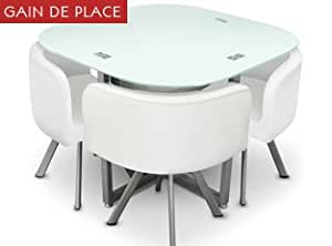 Table damier 4 chaises blanc table de salle manger for Salle a manger gain de place