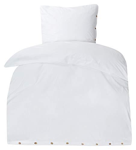 MOON-Luxury Bettwäsche Stone Washed 100{f429f46dcd292eea31856b483139ff45ed5813efdc1cd5fac2884f1da96cc94b} Bio Baumwolle mit echten Holzknöpfen 135x200 / 80x80 (weiß)
