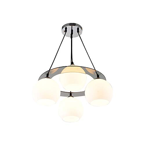 LWBUKK Esszimmer Schlafzimmer Mit Justierbarem 4 Deckenleuchte, Einfache Glas Round Pendelleuchte, Nordic LED Kronleuchter, Leuchter (Style : Warm Light)