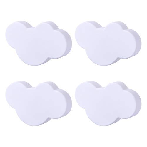 GODNECE Möbelknöpfe Kinderzimmer Set 4er Set Möbelknöpfe Kinder Schubladenknöpfe Möbelknäufe Kinderzimmer Wolkenform (Weiß)