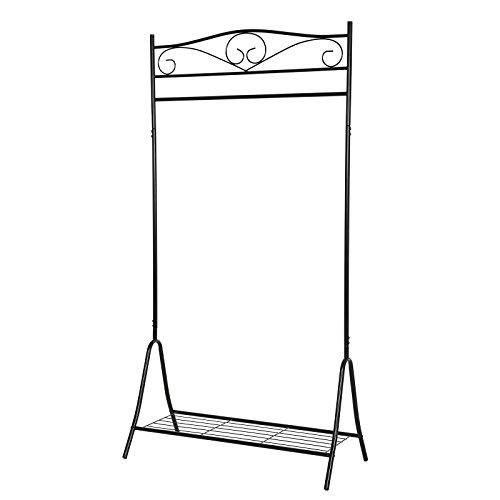 Songmics Höhe 173cm Metall Antik Kleiderständer Kleiderstange Garderobenständer mit Schuhablage Schwarz HSR01B