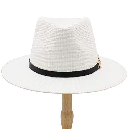 Dame Straw Hat Einfarbig Sun Cap Panama Strohhüte Fedora Soft Vogue Männer Frauen Geizige Krempe Caps 6 Farben Wählen Sie 58 cm für Tourismus-Strand-Einkaufskirche ( Farbe : Weiß , Größe : 56-58CM ) -