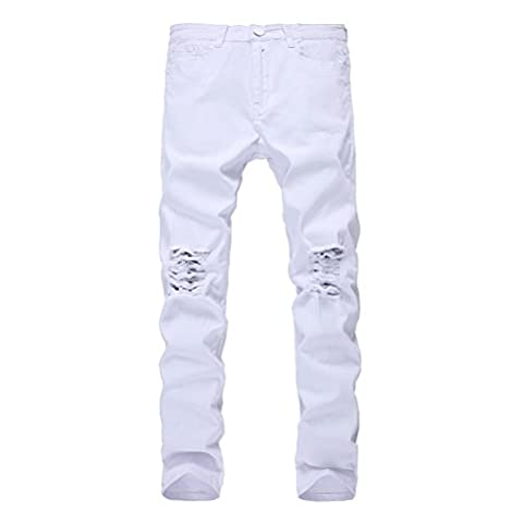 Herren Slim Fit Jeans Destroyed Zerrissen Skinny Jeanshose Freizeit Stretch Löcher Denim Hose