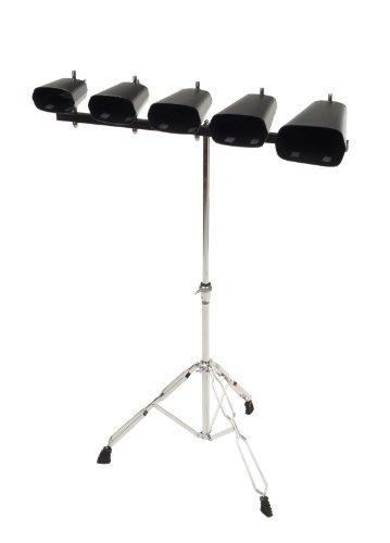"""XDrum Cowbell Set, 5 Kuhglocken inkl. Ständer (Percussion, Kuhglockenset, 4"""",5"""",6"""",7"""",9"""", robuster, höhenverstellbarer Ständer, doppelstrebige Hardware, ausgezeichneter, harmonischer Klang)"""