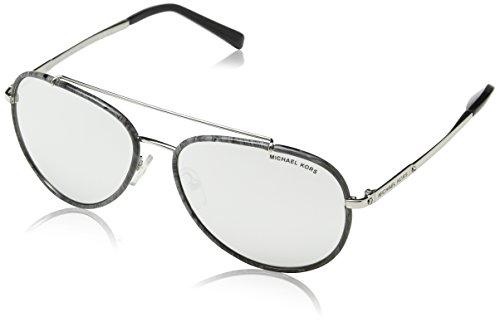 Michael Kors Damen IDA 11666G 59 Sonnenbrille, Gray Marble/Silver-Tone/Silvermirror,