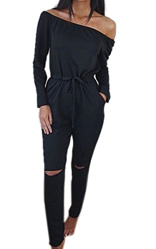 c9086ac9b05d Ecowish Langarm Hosenanzug Jumpsuit Damen Elegant Lang Hosen Trägerlos  Overall