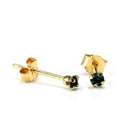 Orecchini punto luce in oro giallo 9ct e pietre verde Smeraldo rotonde di 2mm