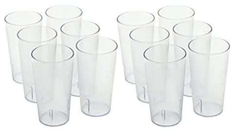 ChefLand Stackable Restaurant Beverage Cup Break-Resistant Plastic Tumbler, 16-Ounce, Clear,