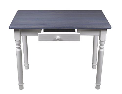 Esstisch mit Schublade Küchentisch Tisch Massiv Kiefer Speisetisch massiv (60x70 cm, Grau)