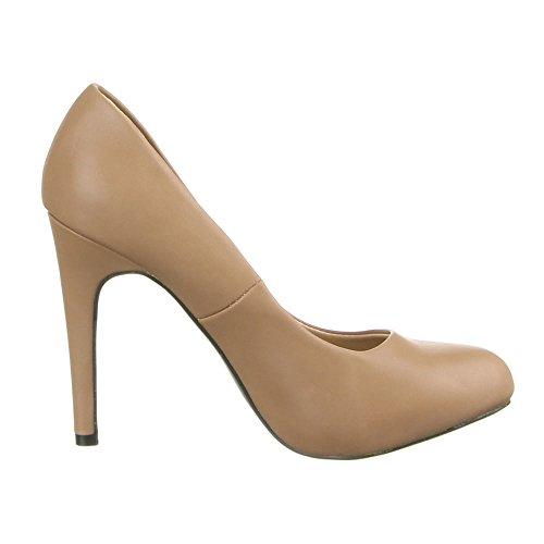 Damen Schuhe, 8109-P, PUMPS Braun