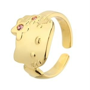 Mädchen-Ring Messing Pilgrim Damen-Ring, Gold/pink (Hello Kitty Ring)