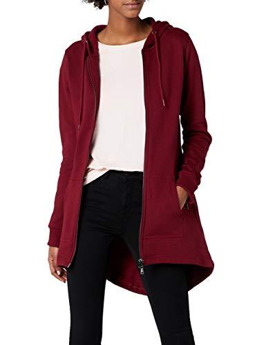 Urban Classics Damen Sweatjacke Ladies Sweat Parka, lange Kapuzenjacke im Stil eines Zip Hoodie - Farbe burgundy, Größe XL