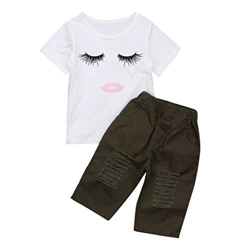 Poachers Poachers Kinder Kinder Baby Kurzarm Cartoon Wimpern Tops T-Shirt + Loch Hosen Outfits
