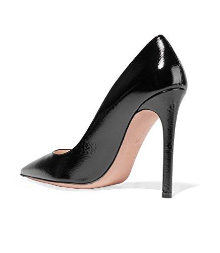 EDEFS Femme Escarpins Classique Sexy Talon Aiguille Texture Polonais Chaussures Soiree Taille 35-45 Noir