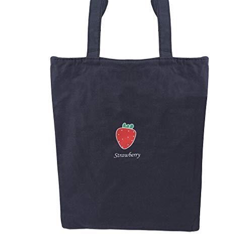 L_shop Canvas Tote Shopping Bag Wiederverwendbare Canvas-Tasche Fruit Series Printing Grocery Handbag, Strawberry -
