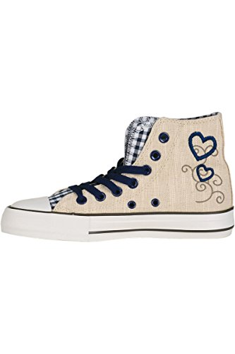 Trachten Sneaker im Chucks Look blau 'Madl mit Herz', blau, Blau