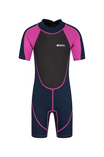 Mountain Warehouse Junior kurzer Kinder-Neoprenanzug - Sommer-Nasstaucheranzug, Leichtlauf-Reißverschluss, Flachnähte, Verstellbarer Nacken - für den Sommer, zum Tauchen Rosa 116 (5-6 Jahre)