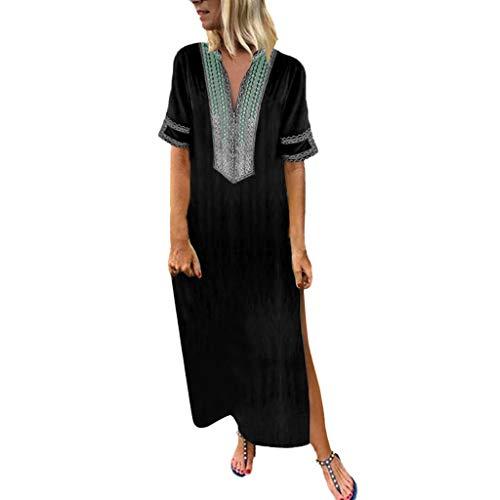 Jazz Custom Kostüm - UYSDF Fashion Kleidung Damen Gedruckt Lange Ärmel V-Ausschnitt Maxi Kleid Saum Ausgebeult Kaftan Lange Kleid