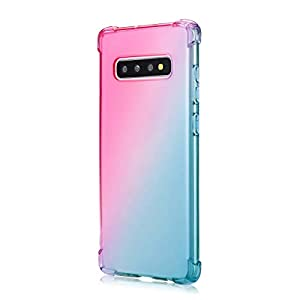 Oihxse Compatible with Galaxy A6S Case Clear with Gradient Colour Design, Soft Silicone [Air Cushion] [Anti-Yellow] Drop Protection Shockproof Fashion Slim Fit TPU Bumper Skin Cover-Green Pink   10
