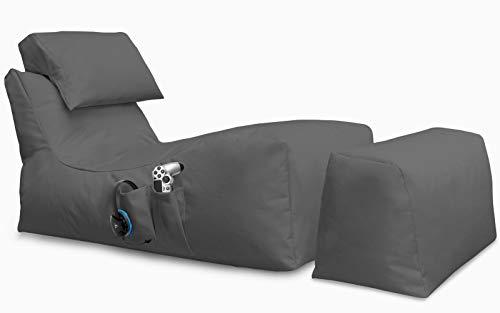 Giantbag Lying Beanbag Gaming Sitzsack mit Hocker, für XBOX360, XboxOne, PS4, Nintendo Switch, Smartphone, Nintendo DS, Made in Germany, mit Seiten Tasche (120x65x40 cm, Anthrazit) -