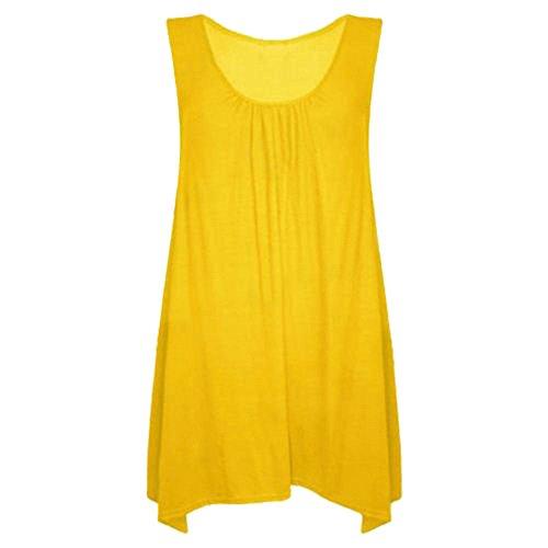 Janisramone neuen Frauen schwingen Kleid ärmellos oberste Taschentuch schlicht Flitzer wieder aufgeweitetem Festkleid Zitrone