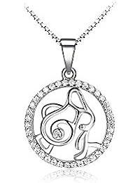 Glamorousky fashion 925 Sterling Silber Wassermann Anhänger mit weißen Zirkonia und Halskette (23719)