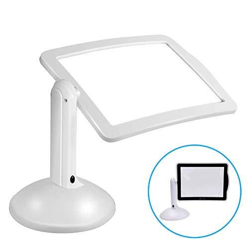 Caeor LED Lupen 3X Tischlupe mit Licht A4 Leselupen für Senioren Groß Rechteckiges Standlupe mit Klappständer Lesehilfen zum Lesen Büchern, Magazinen, Zeitungen, Landkarten