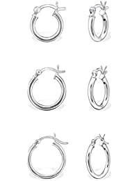 DTPSilver - 925 Sterling Silver and Rose Gold Plated Hoops Earrings - Set of 5 Pairs - Thickness 1.2 mm - Diameter 10 , 12 , 14 , 16 , 18 mm