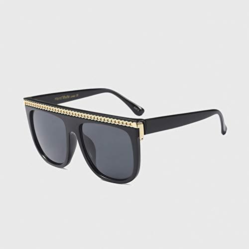 Yuanz Sonnenbrille Frauen Übergröße Flat Top Markendesignerkette Übergroße Sonnenbrille Weibliche Gradienten Sonnenbrille Männer,Q.